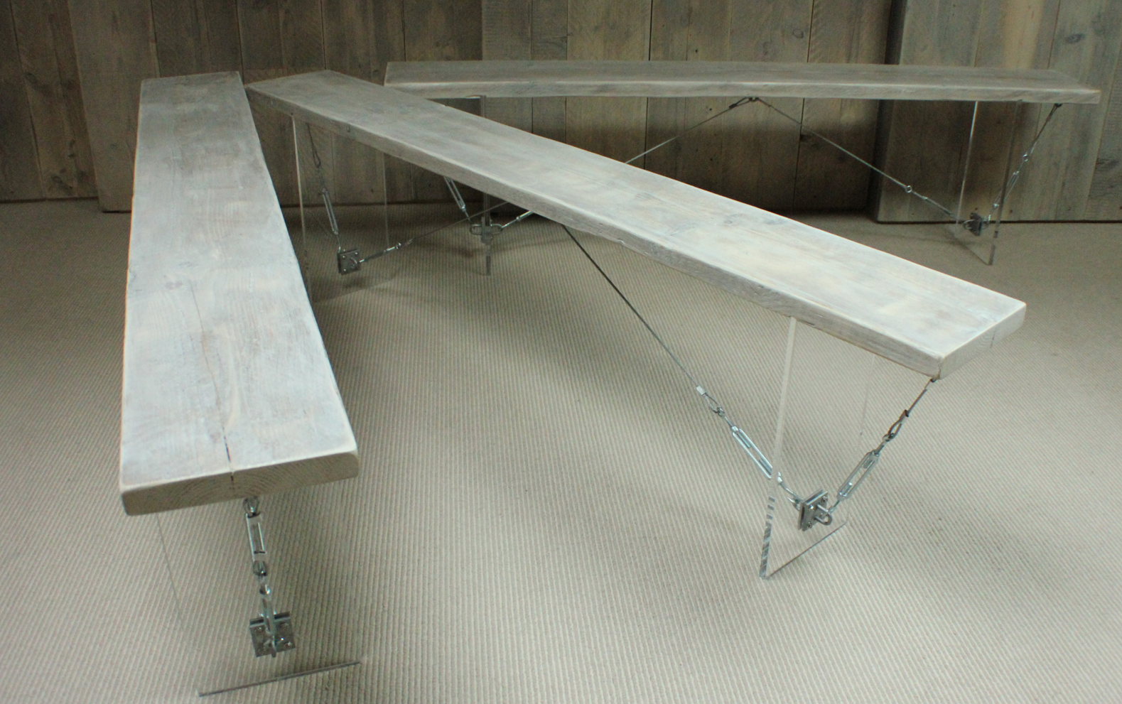 John Osborn's scaffold plank table comes apart and folds flat for easy storage