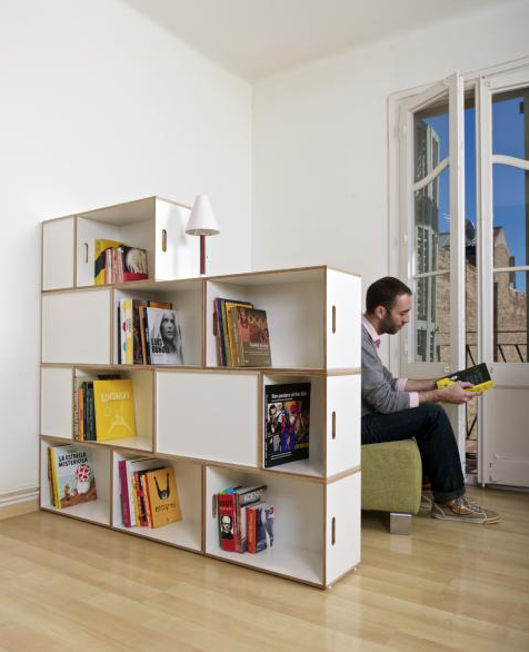 Brick Box by Barcelona's Kazam!, plywood modular storage boxes. Build a bookcase, or a room divider.