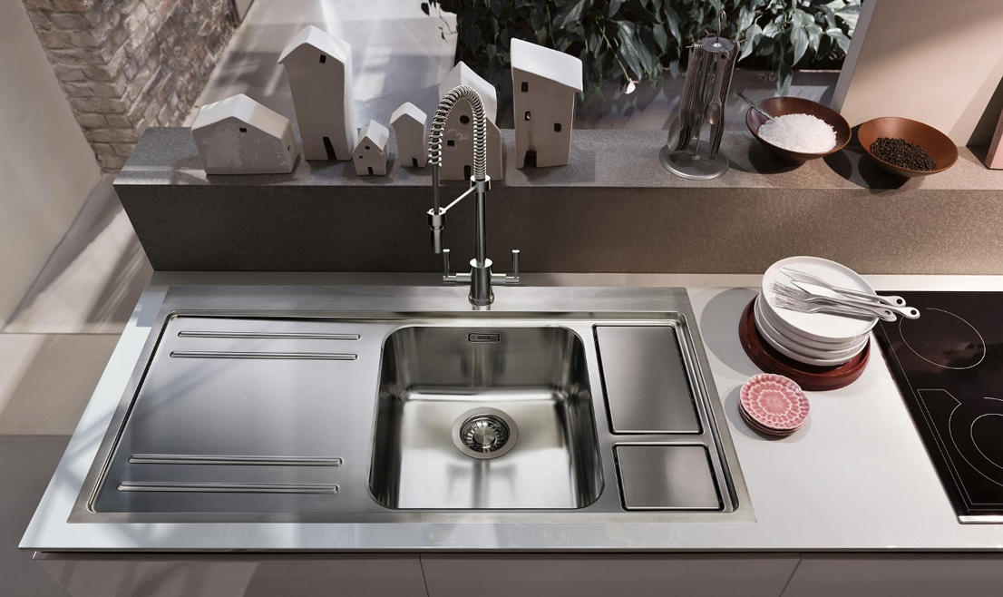 Franke Largo Workcenter stainless steel sink, £749, has two integral bins