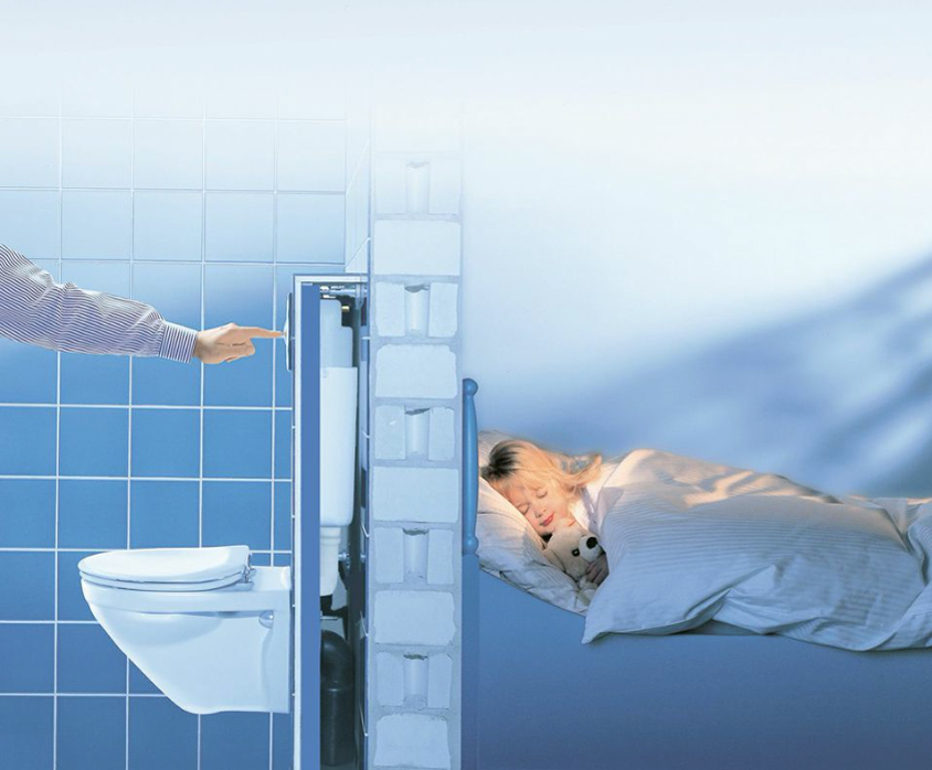 Choose loos that don't wake people up when they're flushed, such as Grohe's Rapid SL