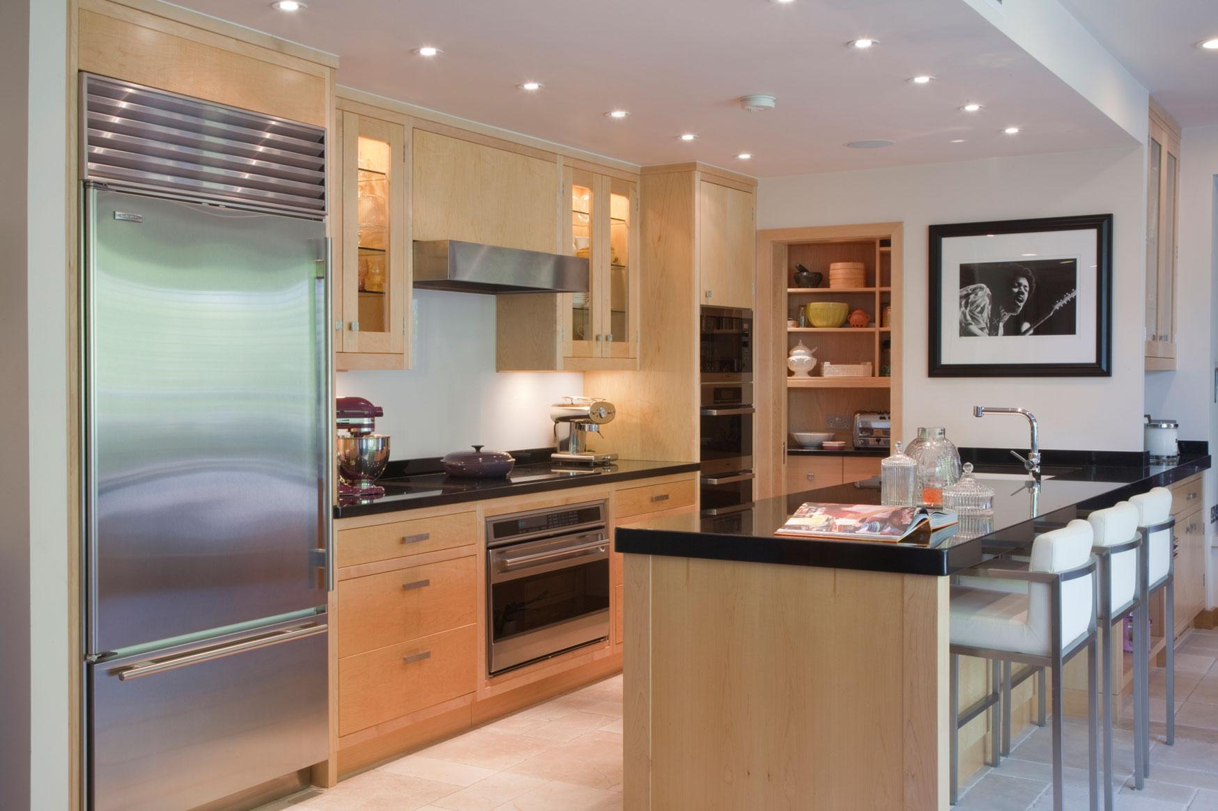 Maple kitchen by Woodstock Furniture. Kitchens start at around £30,000 inc VAT. www.woodstockfurnitu