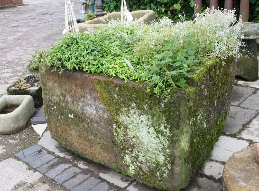 Large reclaimed stone trough, L130xD110xH75cms, £2,000, from Staffs-based Cawarden.