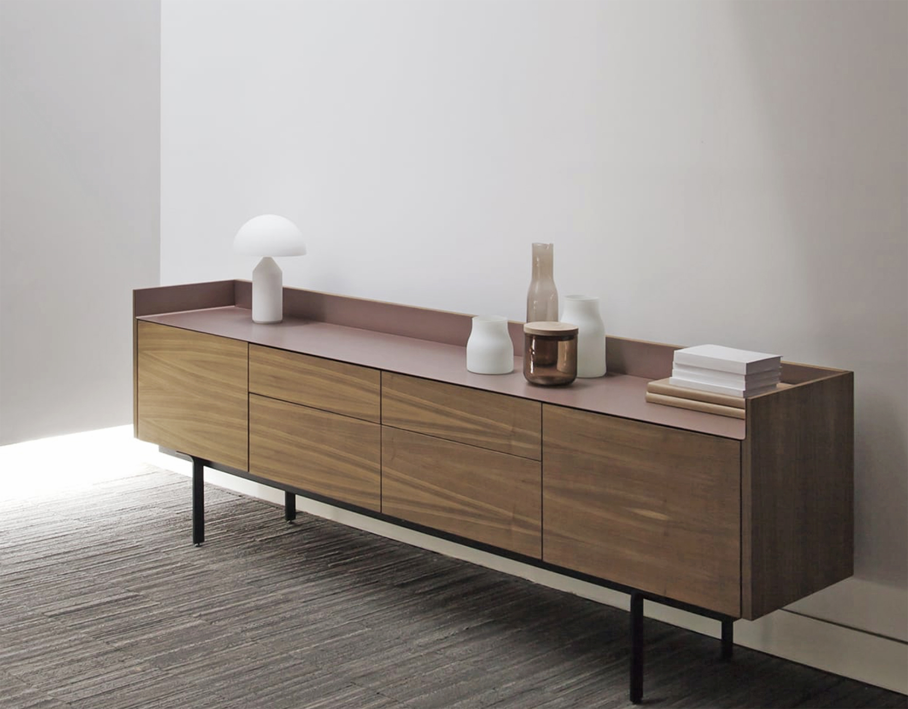Stockholm sideboard, wood with aluminium top, by Mario Ruiz for Spanish brand Punt