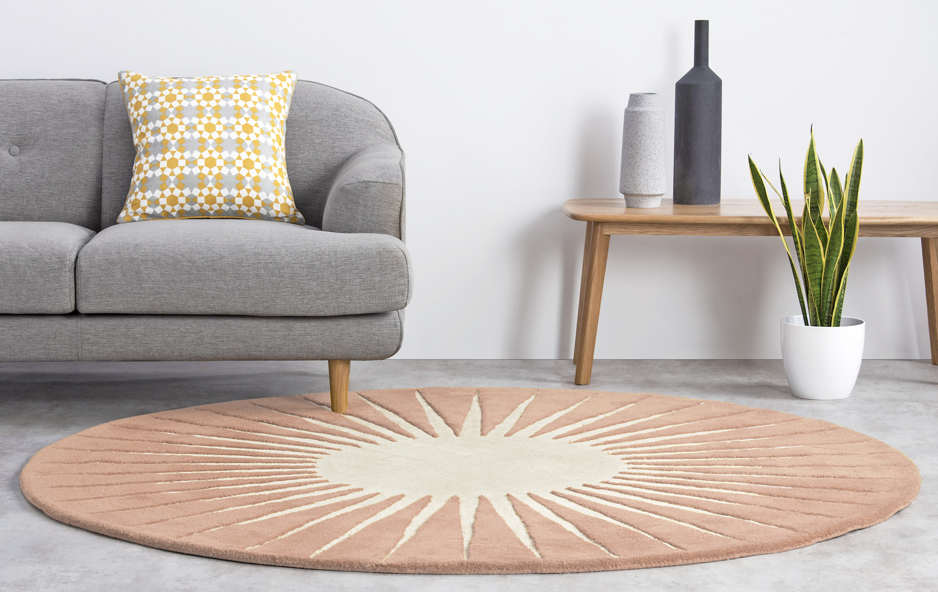 Vaserely NZ wool rug, 200 cm dia, loop and high tufted pile, made.com