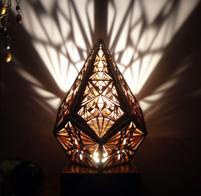Beautiful Five Pointed Prism light made using reclaimed wood, metal and LED lamps, £150