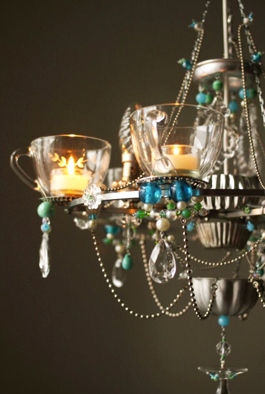 Teacup chandelier can be made in different sizes
