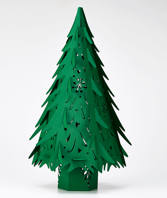 Paper Christmas trees for the mantelpiece (36cms high) with LED button light, £13.95 from The Hangin