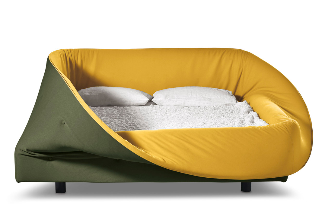 Colletto Bed from Lago Studio has a soft foam ring that can be raised to make a draught-free nest.
