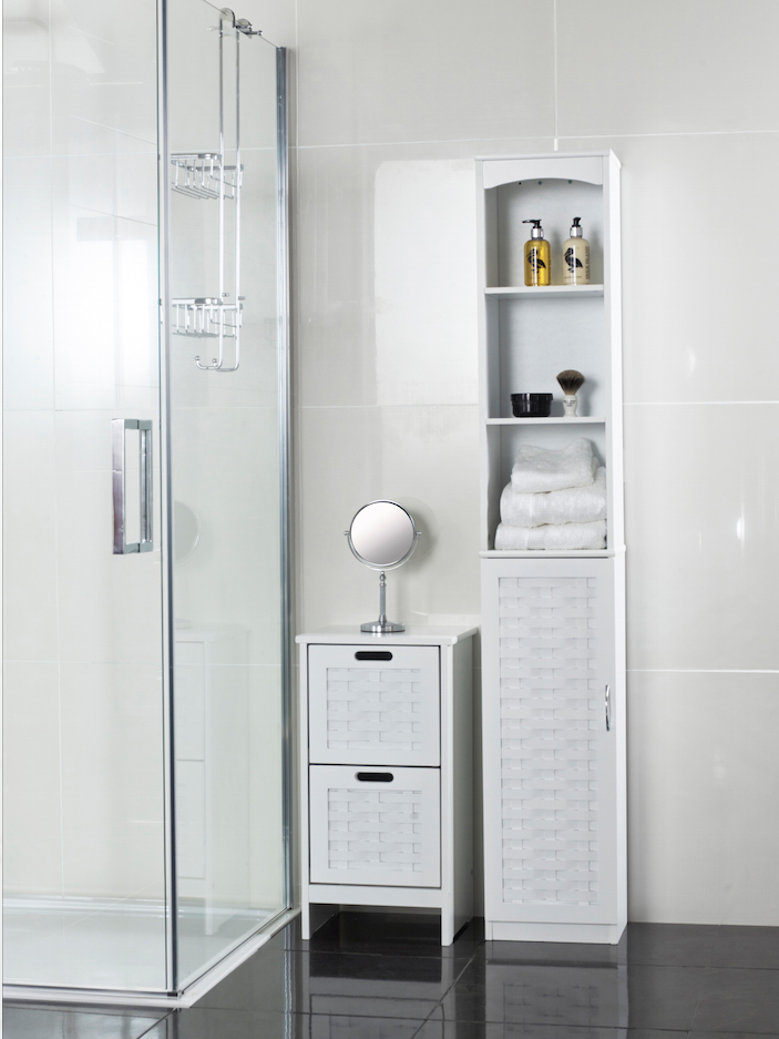 Choose very slim cabinets for small bathrooms such as these wooden units from Roman At Home.