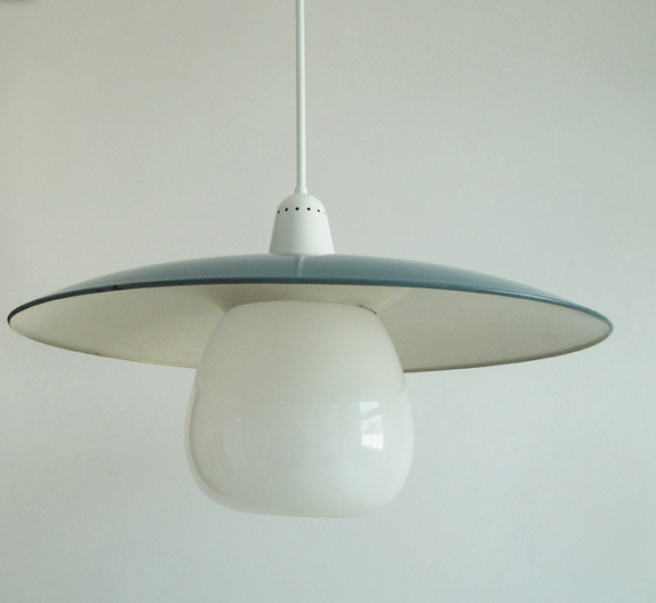 Salvaged school hall lights, Chester, circa 1963, opaline tulip diffuser, from Cornwall's Skinflint
