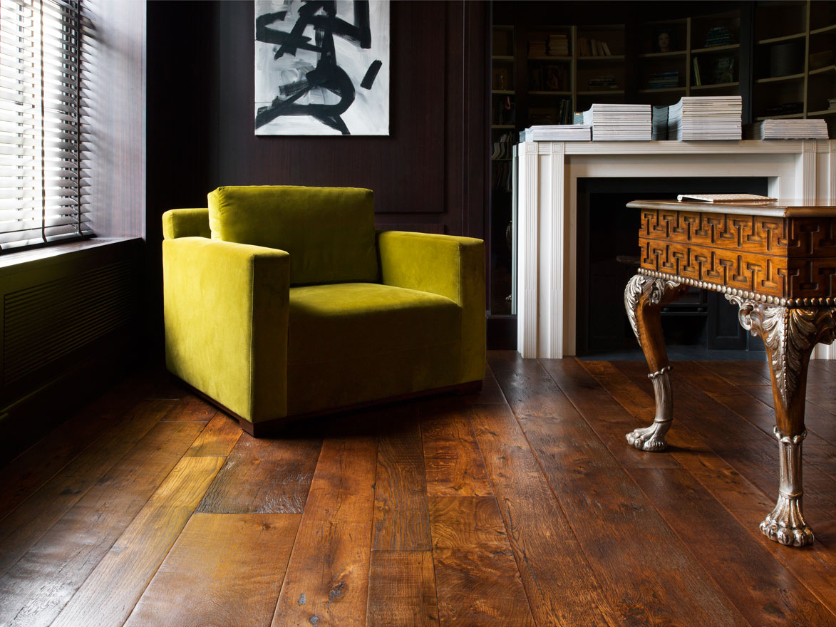Victorian Woodworks' luxury Grand Collection of reclaimed hardwood flooring.