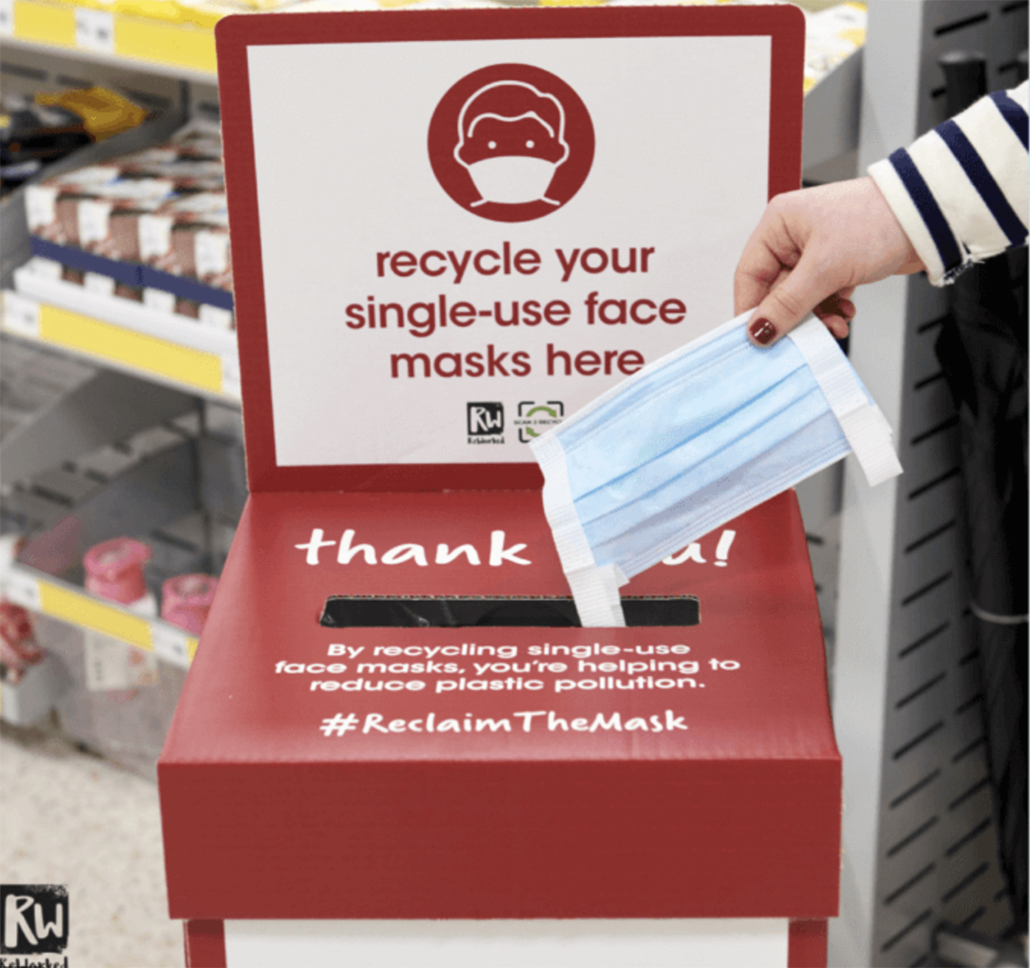 Facemask recycling at Wilko for ReWorked
