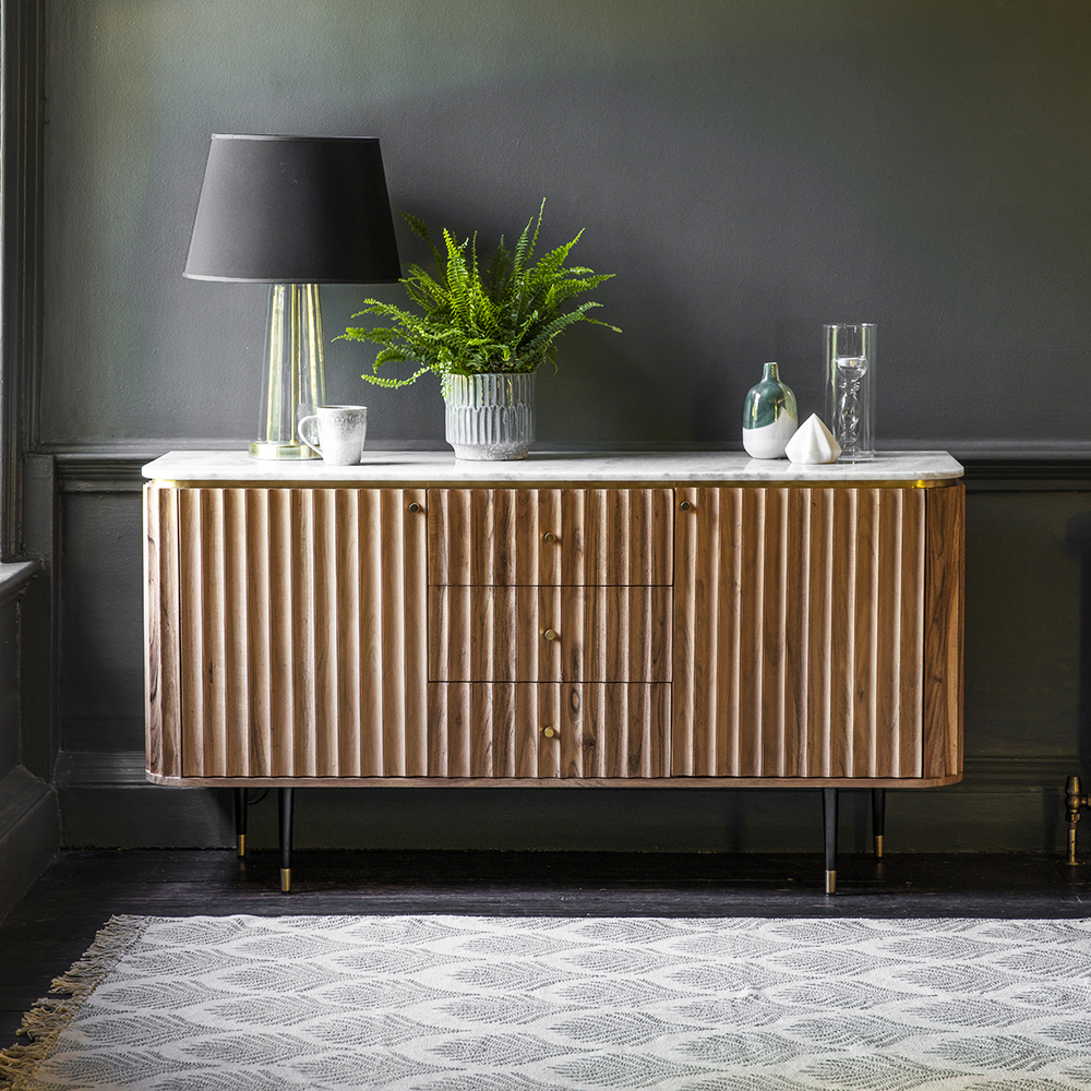 Flute acacia wood sideboard with marble top, £799 at Atkin & Thyme