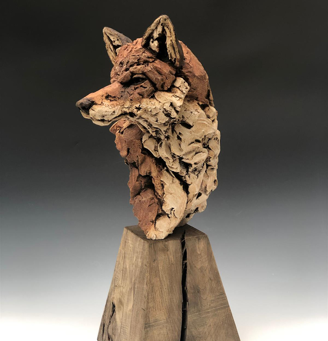 Fox mounted on oak plinth by Simon Griffiths