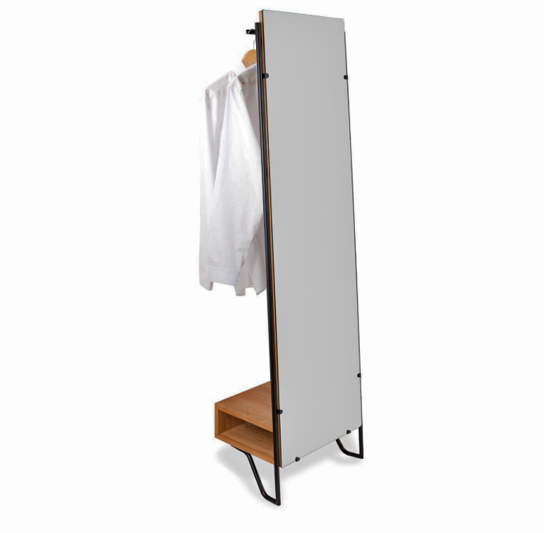 Brunel lean against the wall full size mirror with a hanging shelf and wood storage box