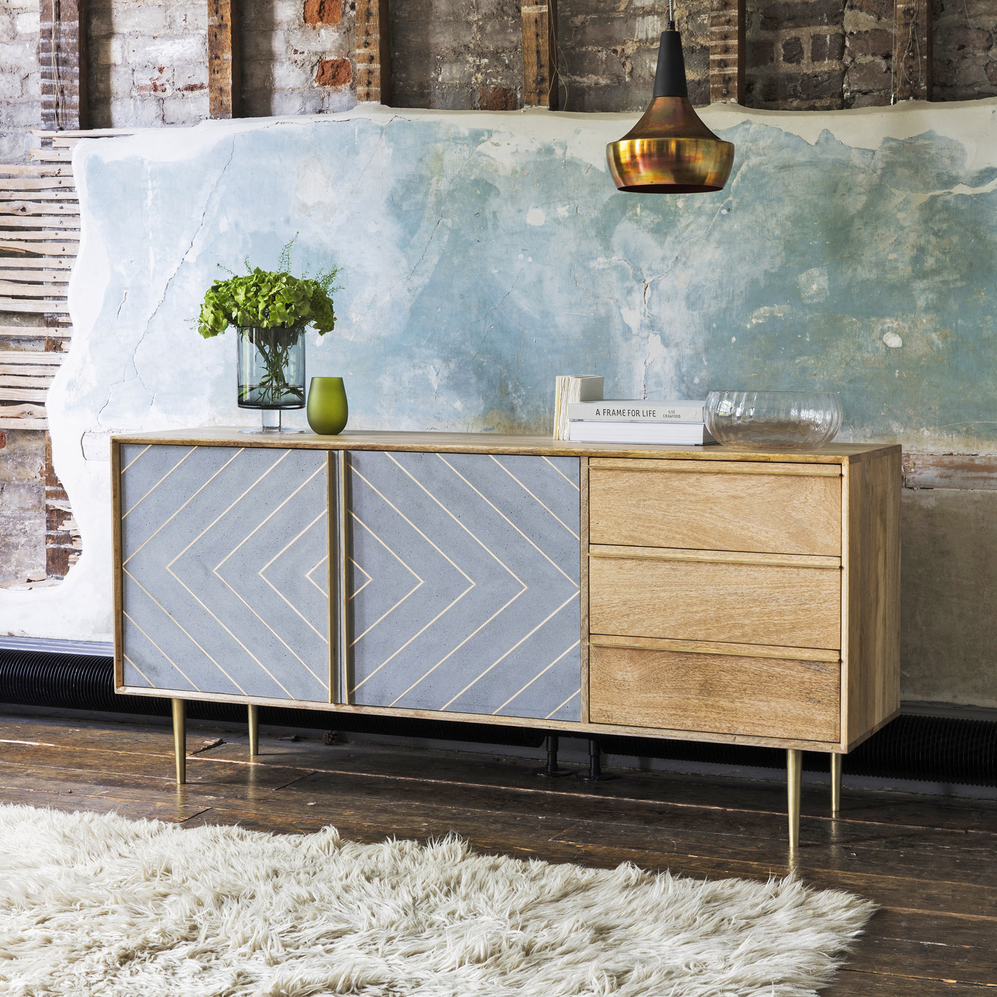 Toshi sideboard, mango wood with a cement finish, Atkin & Thyme
