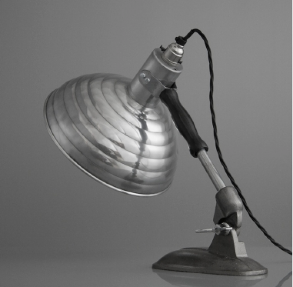 Pifco table lamp, circa 1960, aluminium shade, steel base, from Skinflint, www.skinflintdesign.co.uk