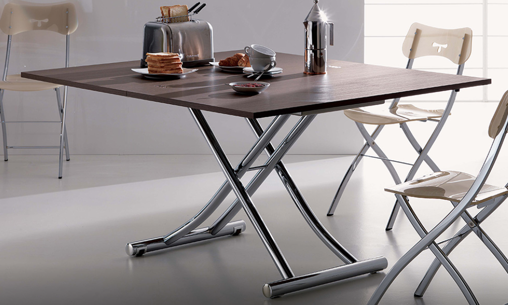 Revo steel framed table by small space living experts Furl can be a low coffee table, a desk