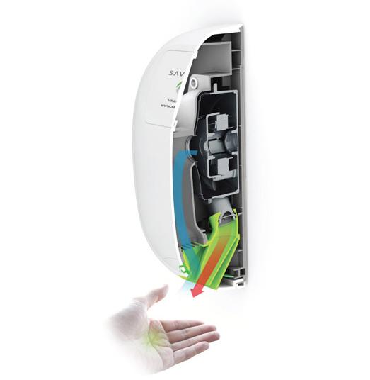 Savortex BabyCurve home hand dryer..quiet, energy efficient and hygienic