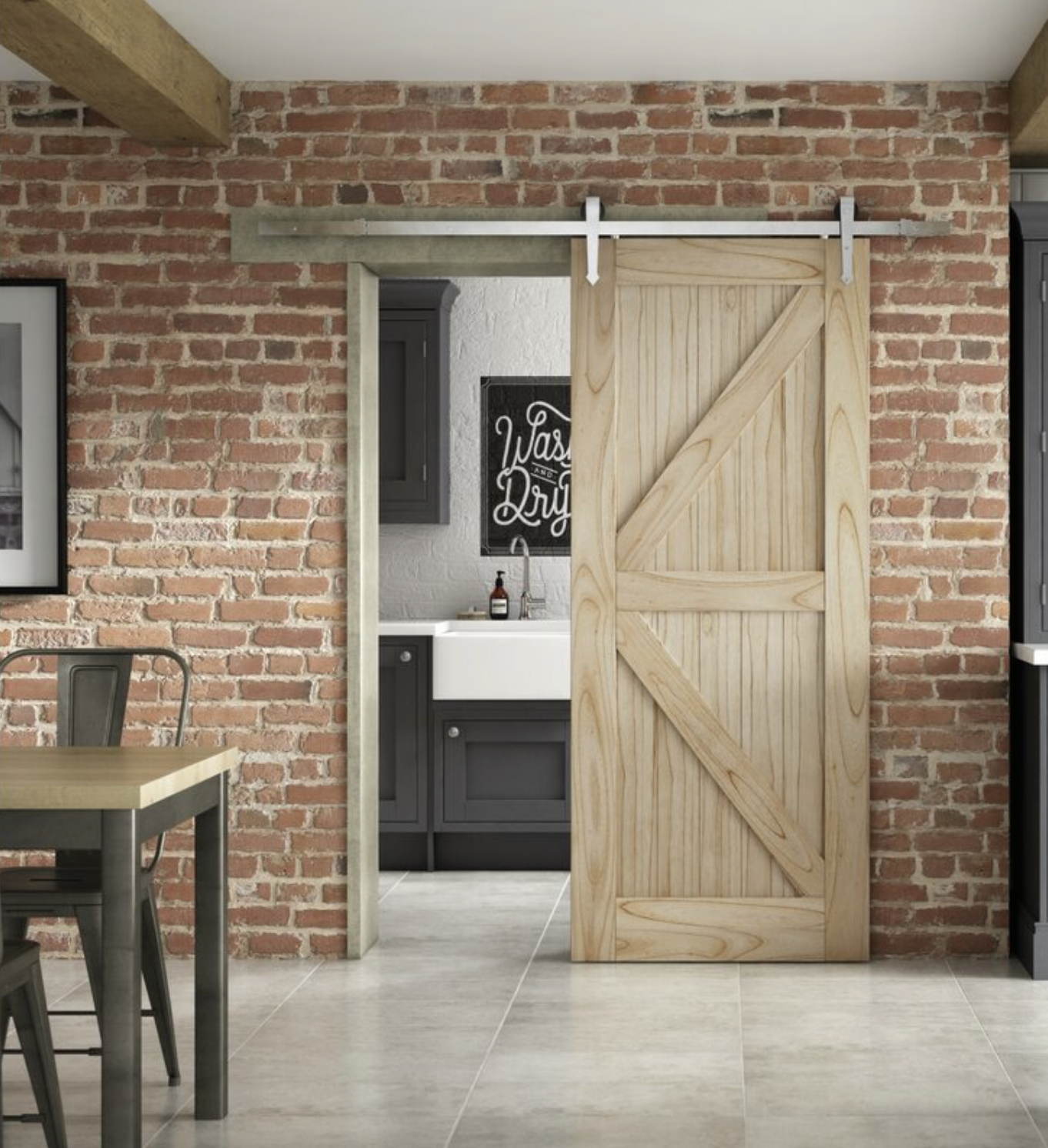 Rustic wood sliding door at Wayfair £233
