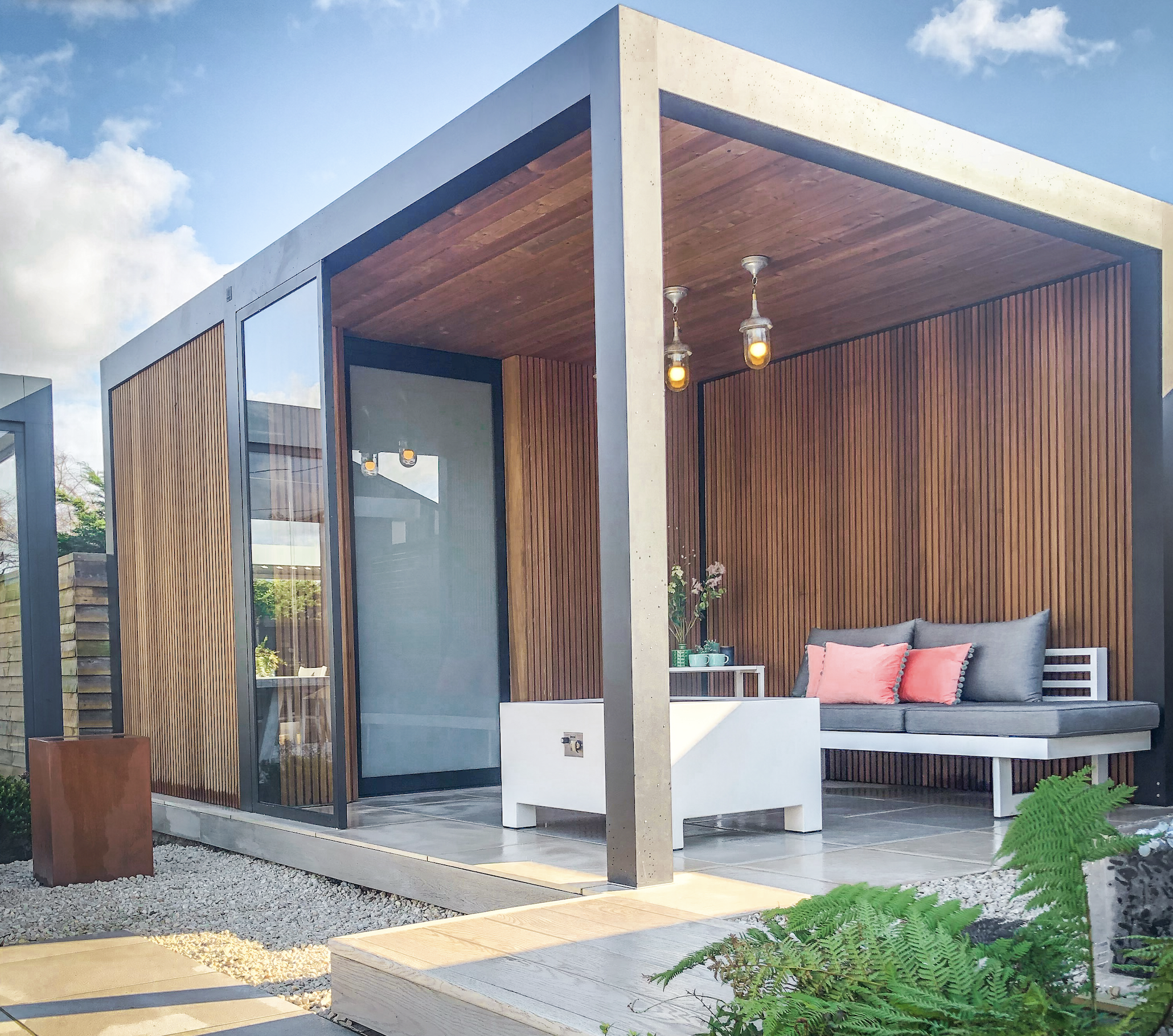 Maluwi Canopy can be attached to a garden room and provides year round shelter. Garden House Design
