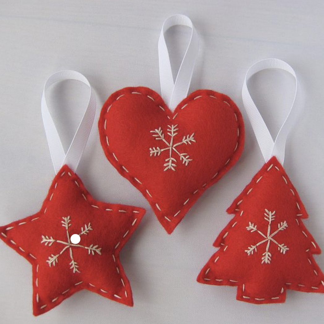 Wool felt decorations are very eco and you can easily make your own - stuff them with rice or pulses