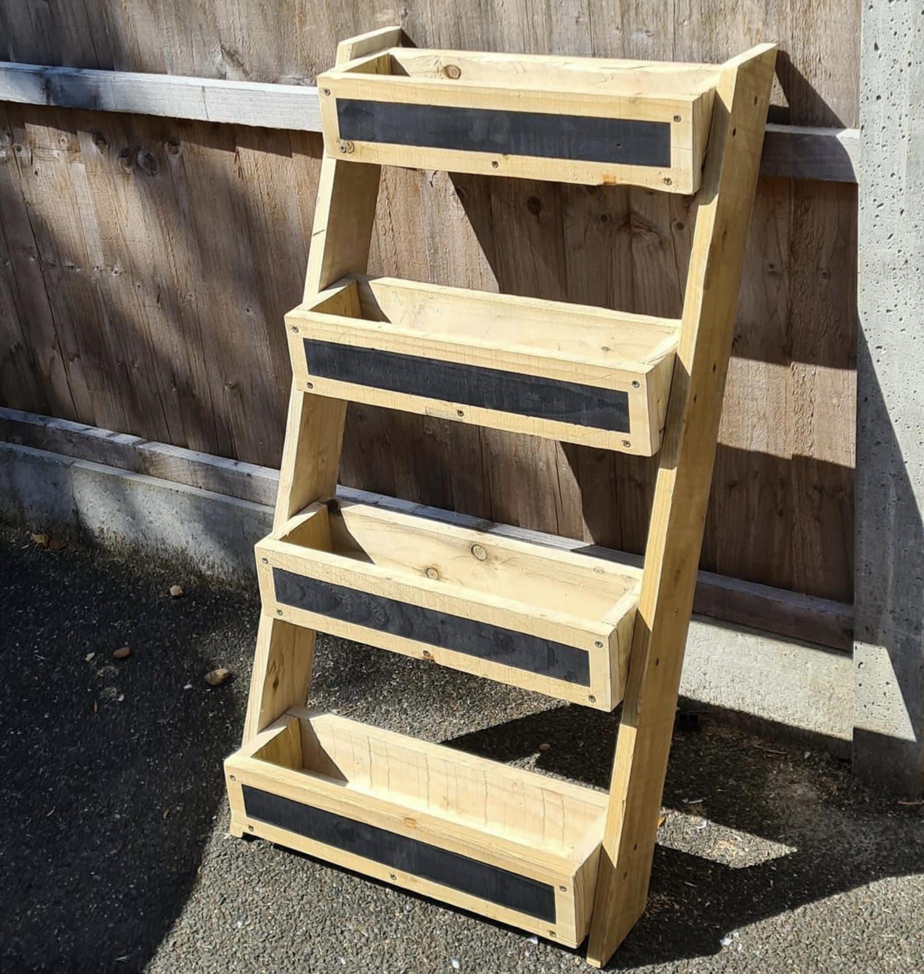 Four tier planter, made from wood, find on Etsy, marcswoodshop, £45
