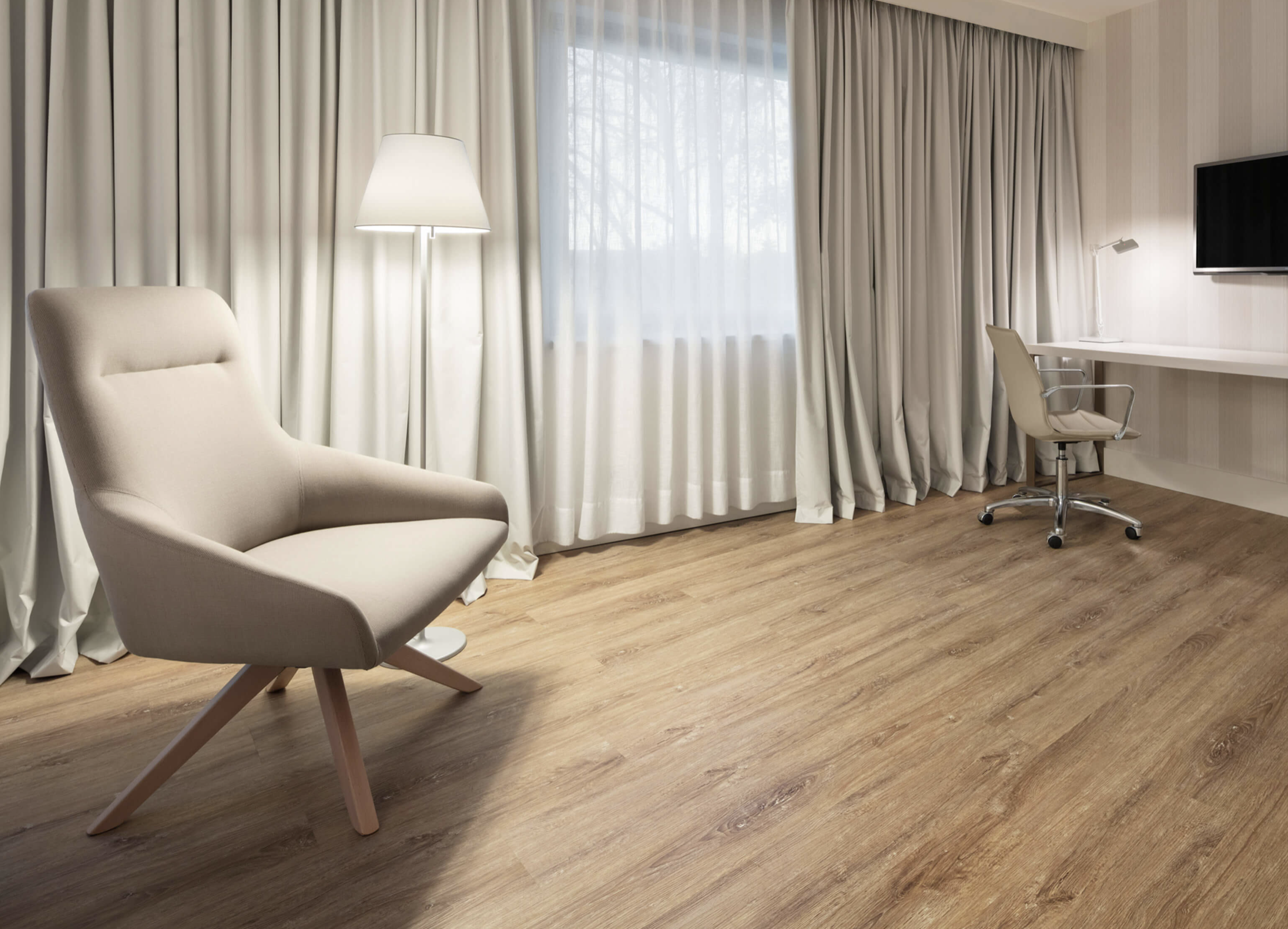 Wicanders' cork flooring now comes with a wood look finish