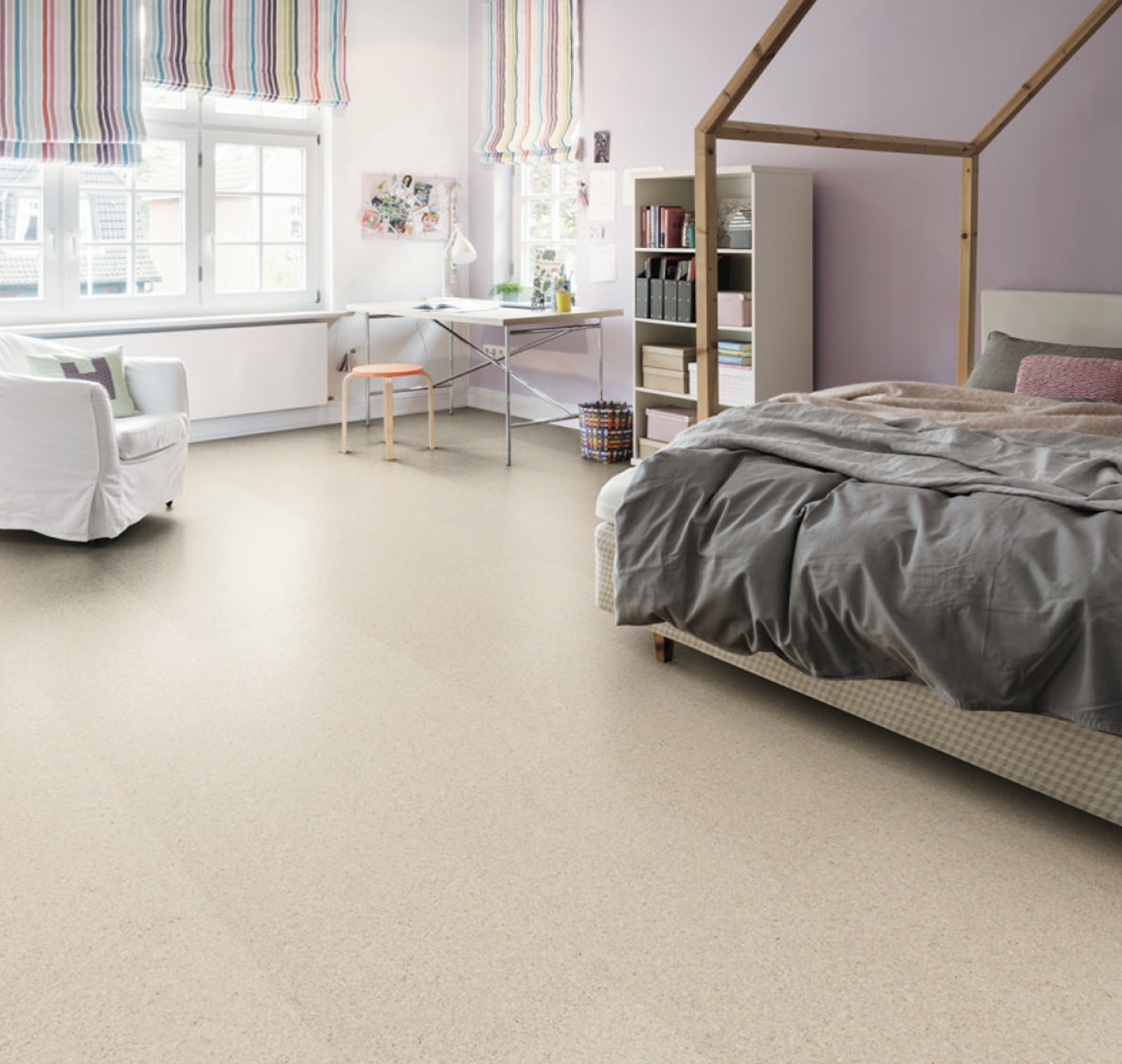 Cork floor with pale finish from Haro.com
