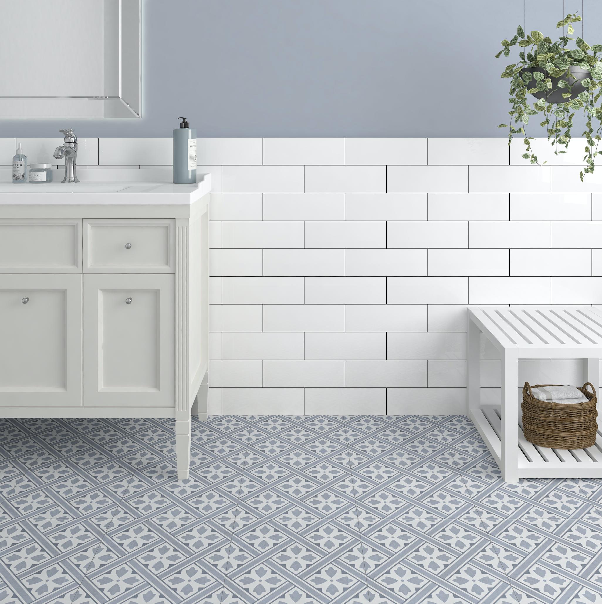 Mr Jones Azure Blue Pattern wall and floor tile, 33x33cm, £17.99 pm2 Tilemountain.co.uk