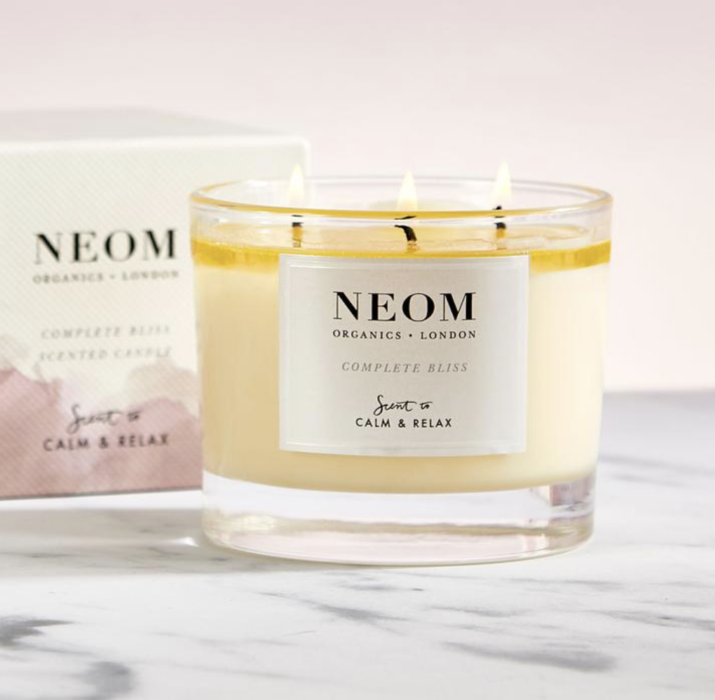 Neom candles are made from plant wax and essential oils
