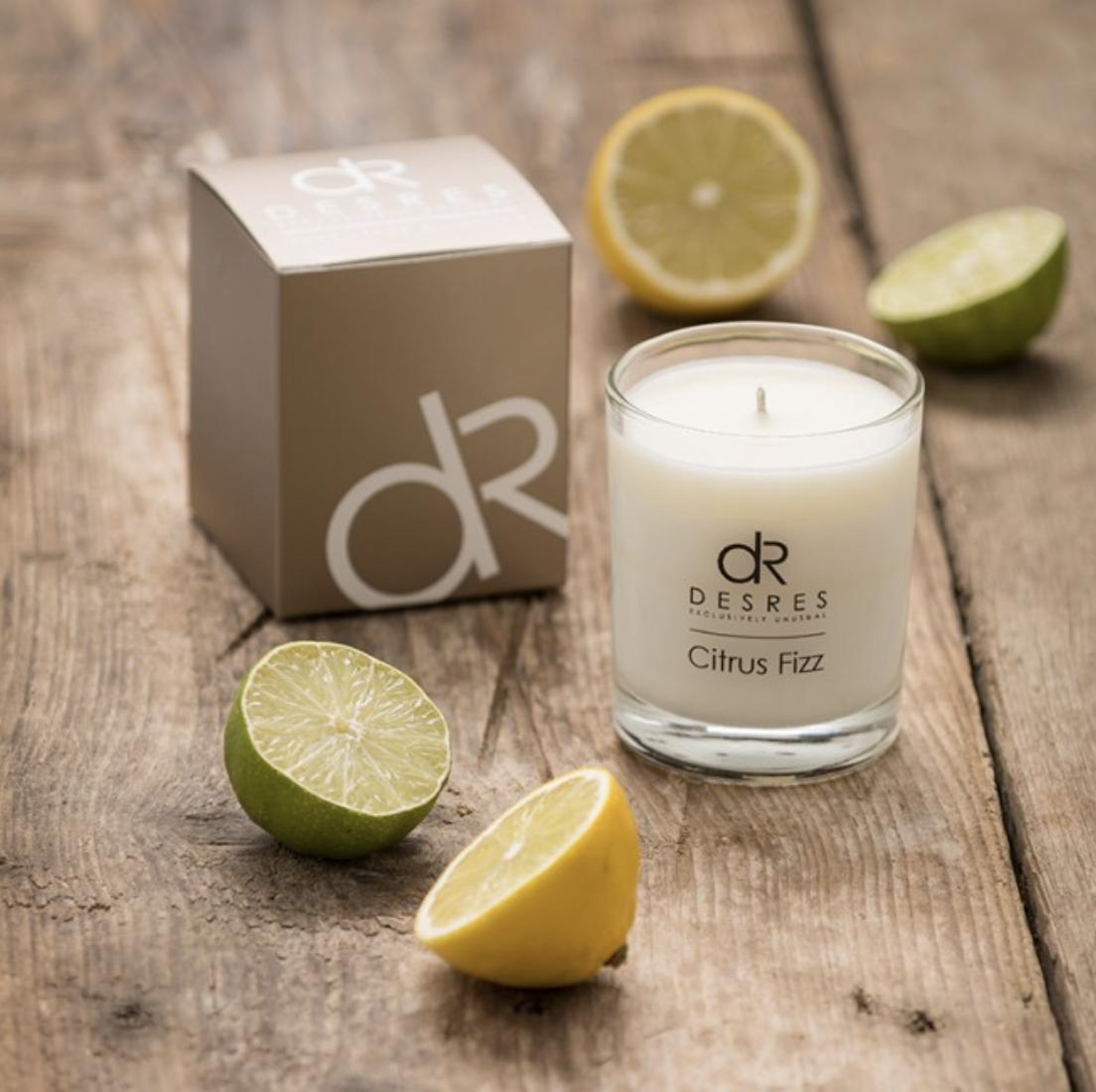 Des Res Citrus Fizz candle, soy wax, vegan friendly, £14