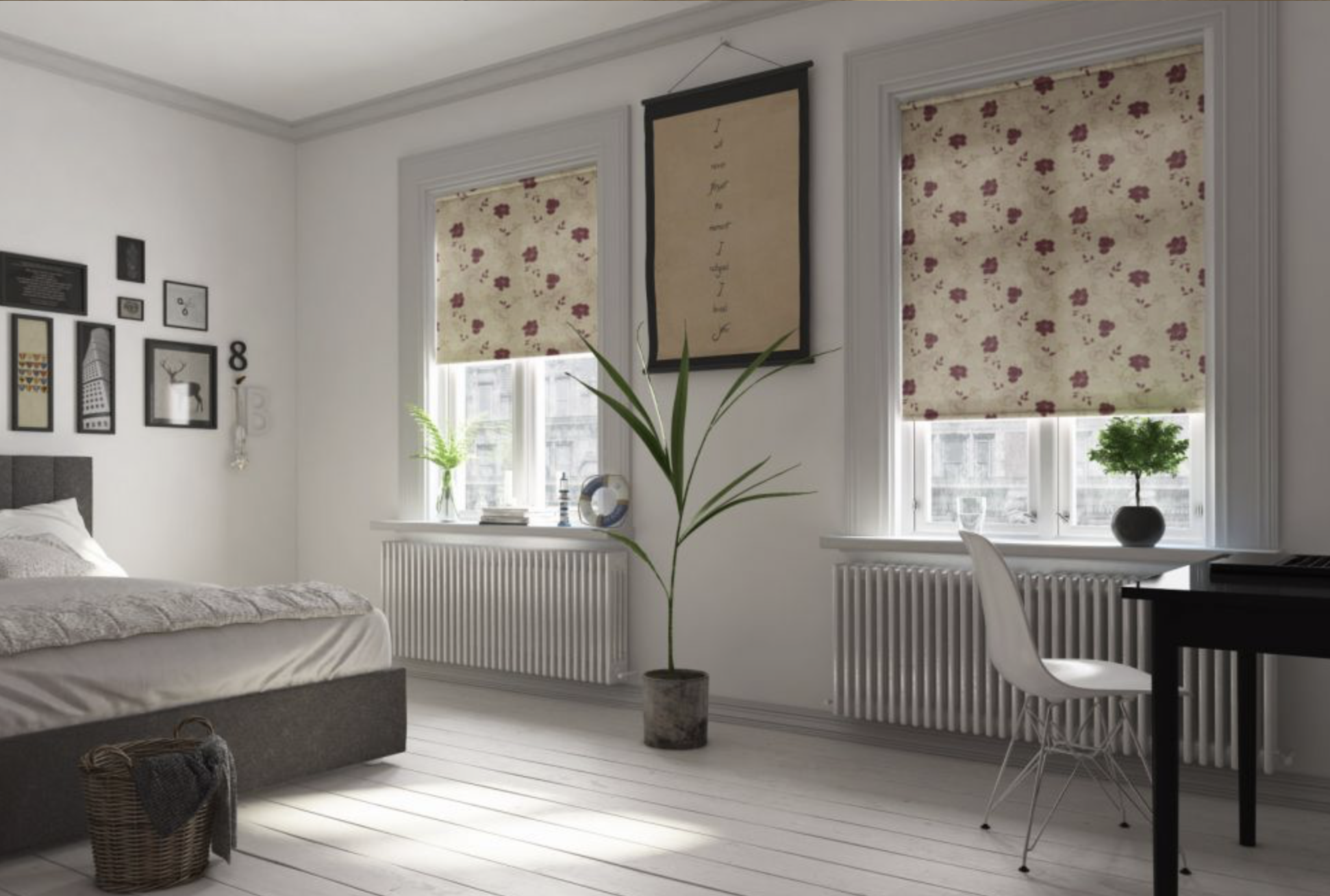 Roller blinds are easy to use. Choose your favourite material and blackout blinds are a good option
