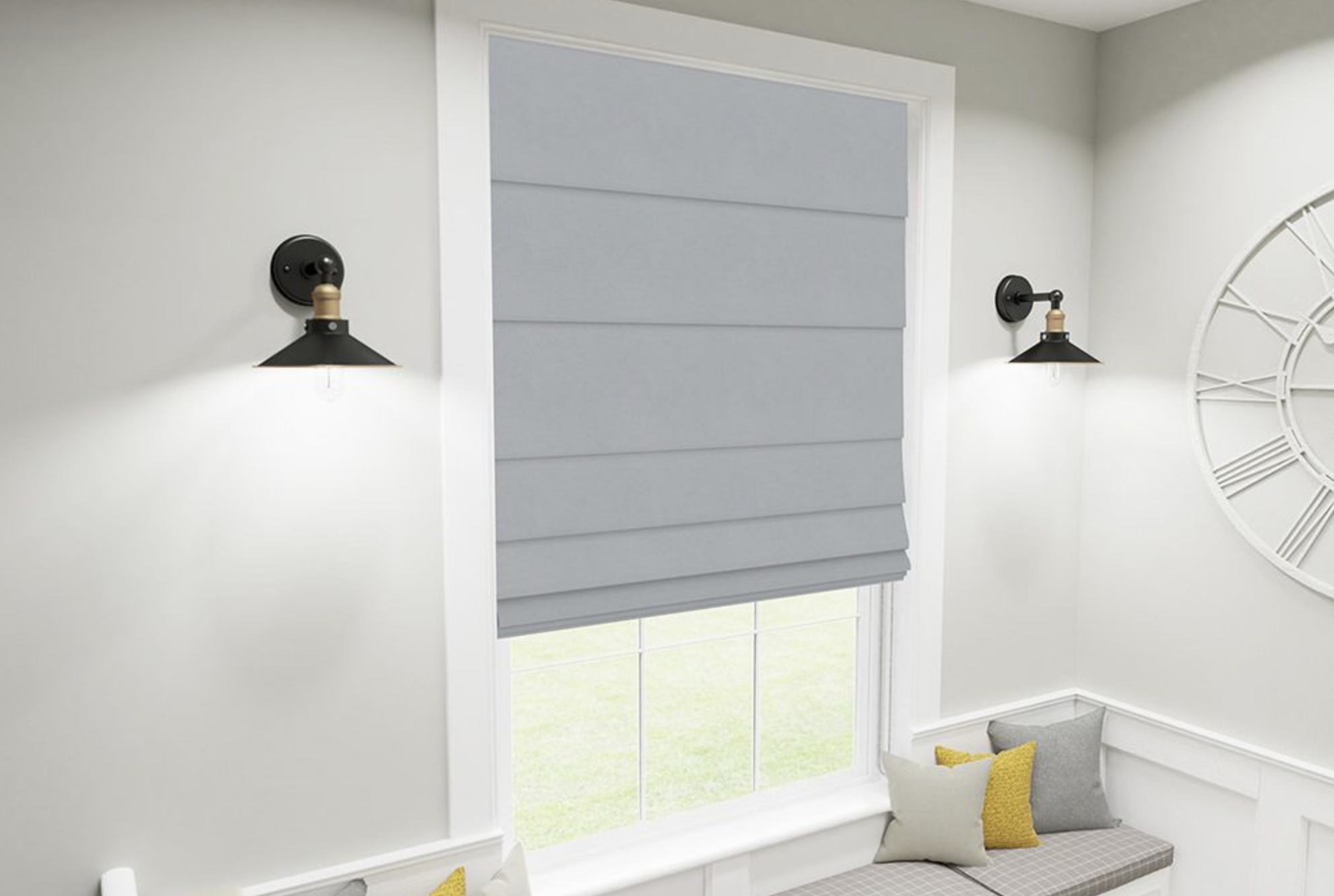 Roman blinds look elegant. www.dotcomblinds.com