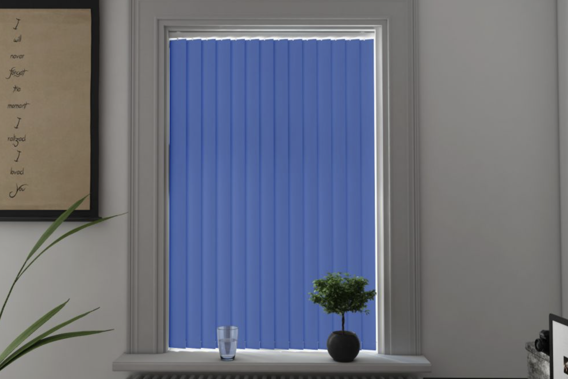 Vertical blinds closed in a sitting room