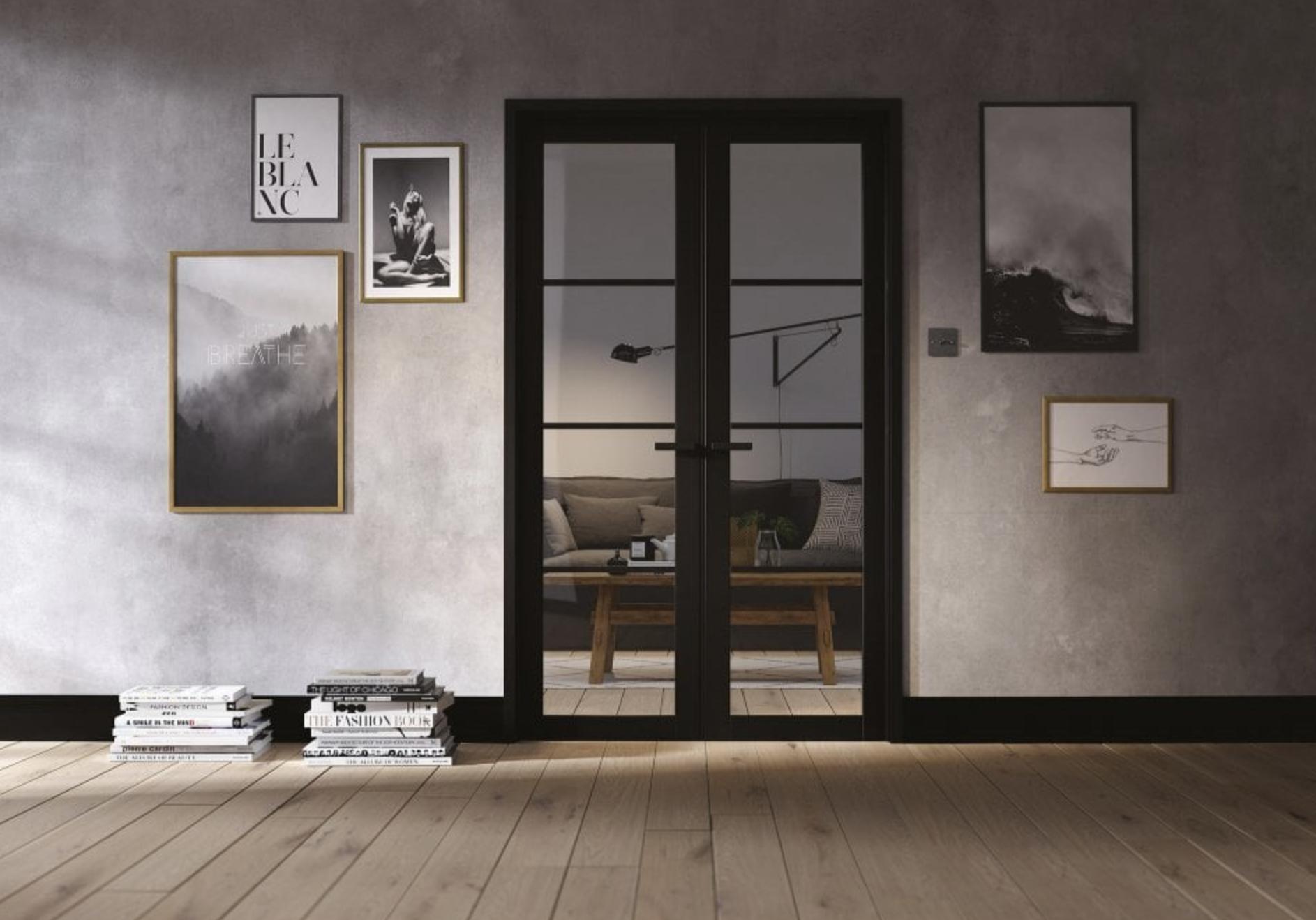 Internal Soho Primed Black 4L Room Divider with safety glass