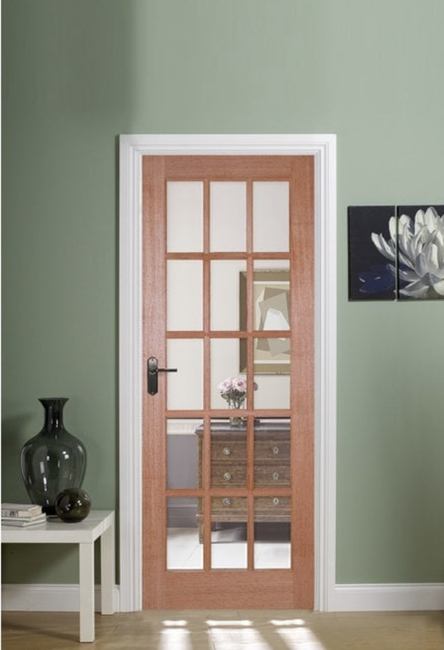 Internal hardwood door with clear glass panels, from £141, The Posh Door Company