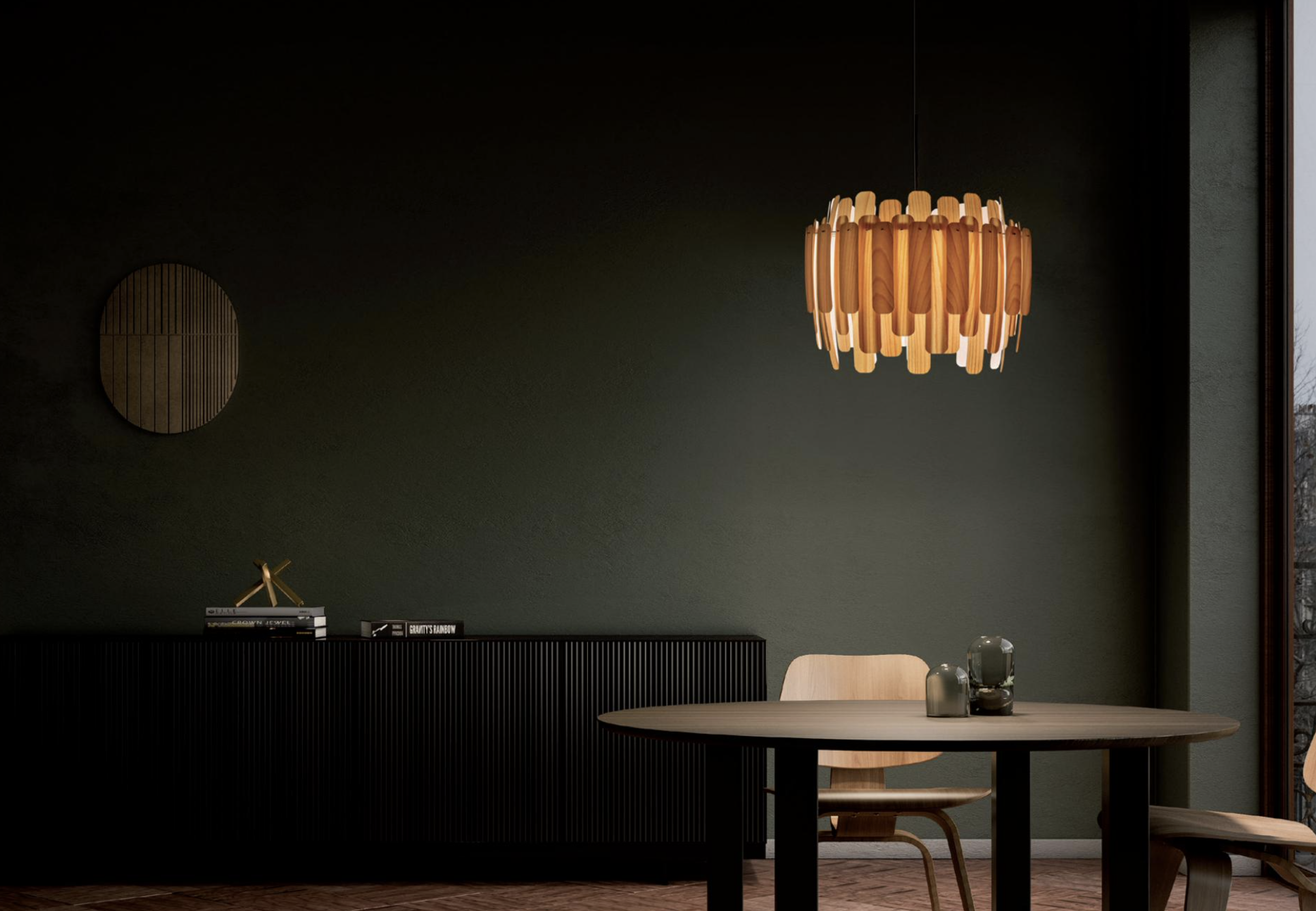 New for 2020 Maruja suspension light, LZF's first flat pack light, by Gazpacho