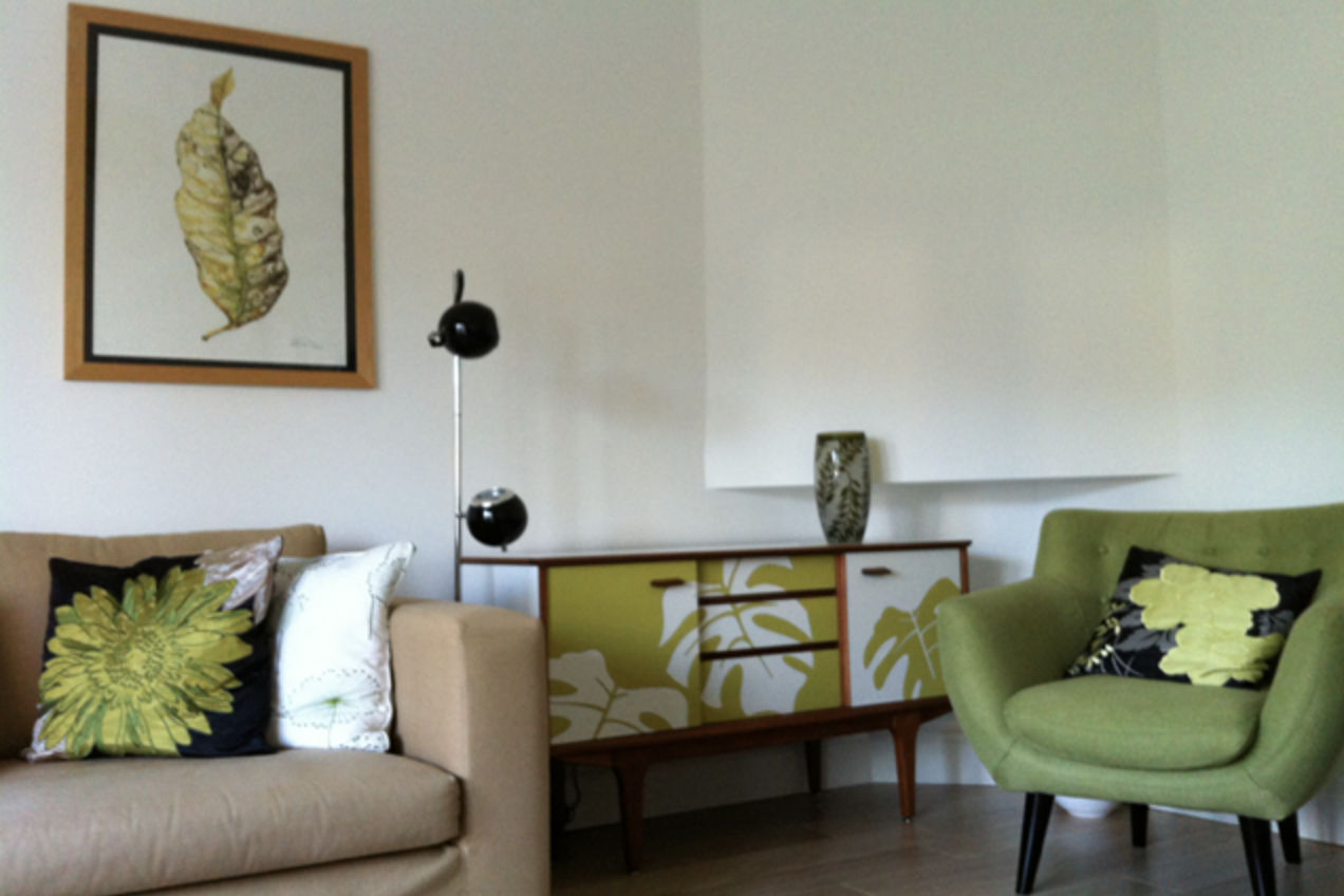 Lucy Turner upcycled mid century furniture, including sideboards, using Formica