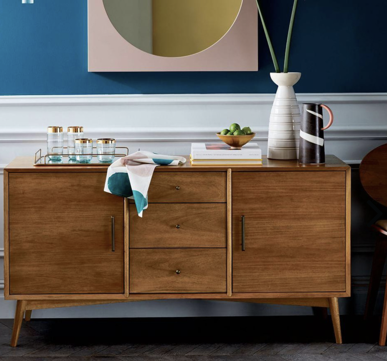 West Elm's Mid Century Sideboard in acorn, sustainable eucalyptus with acacia veneer