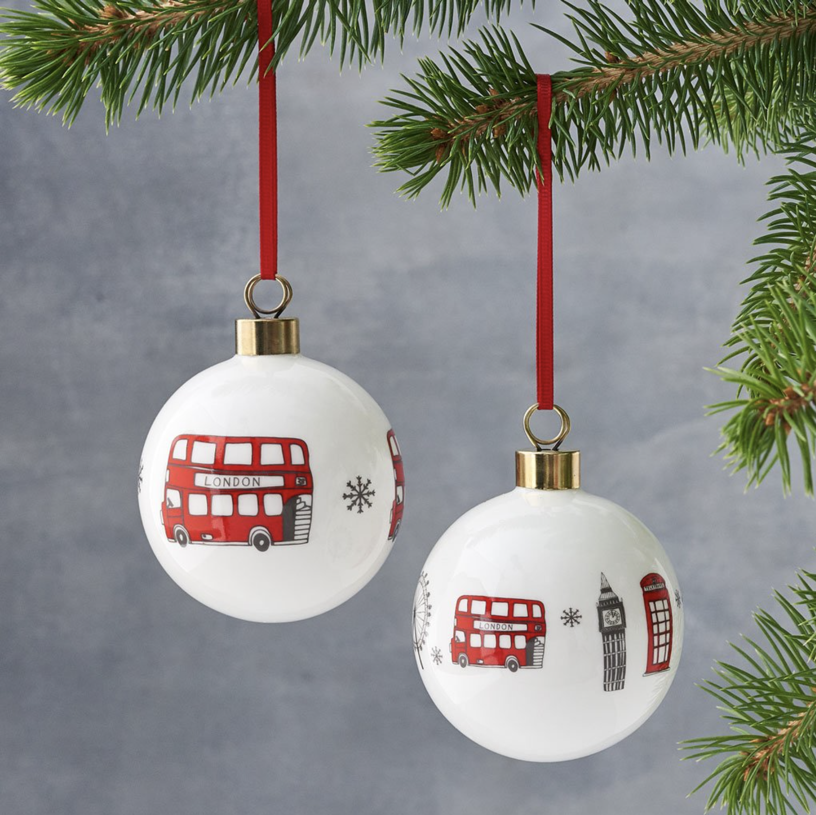 London china baubles, 2 for £29 at Victoria Eggs