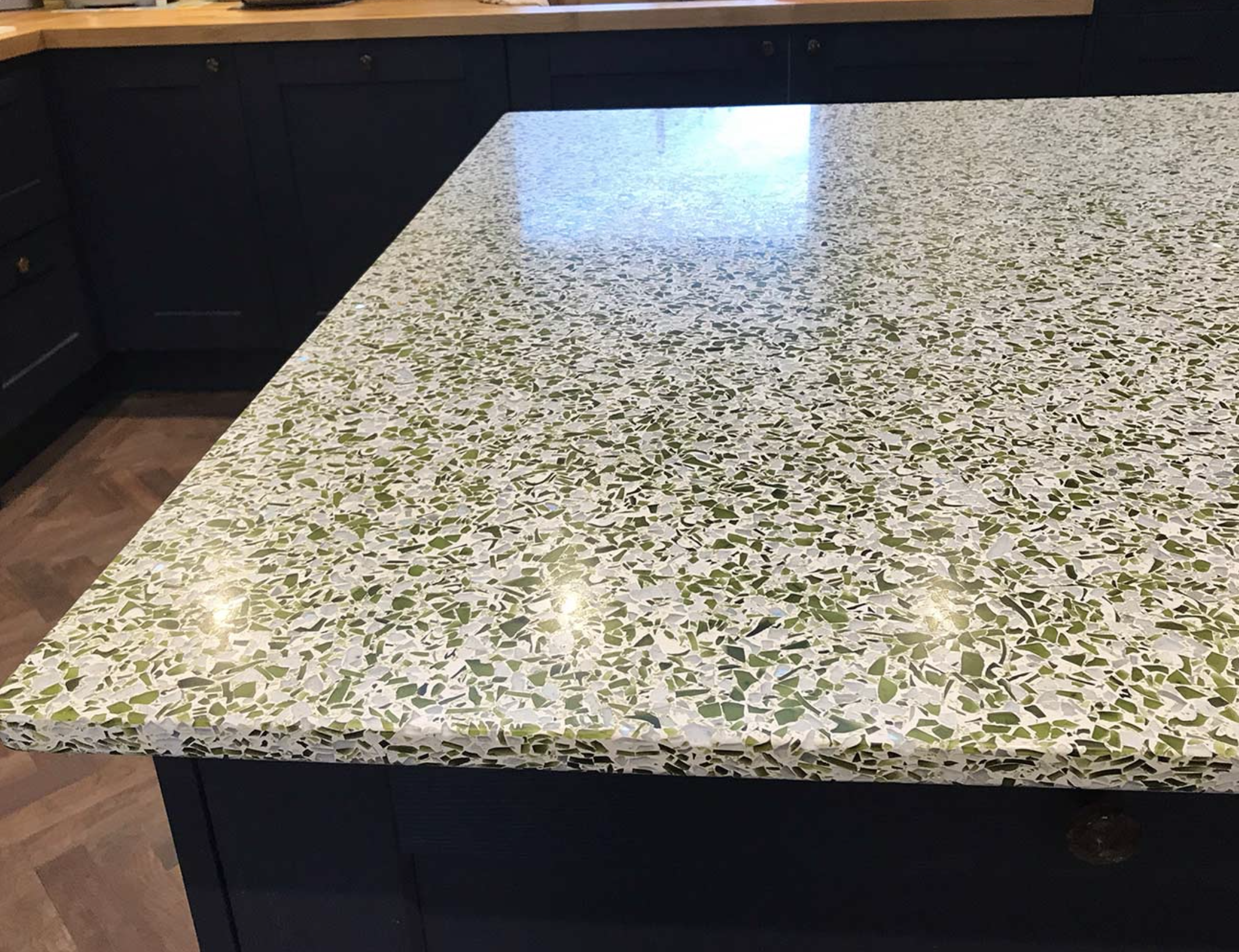 Recycled glass worktops from Diamik Glass, based in Leeds