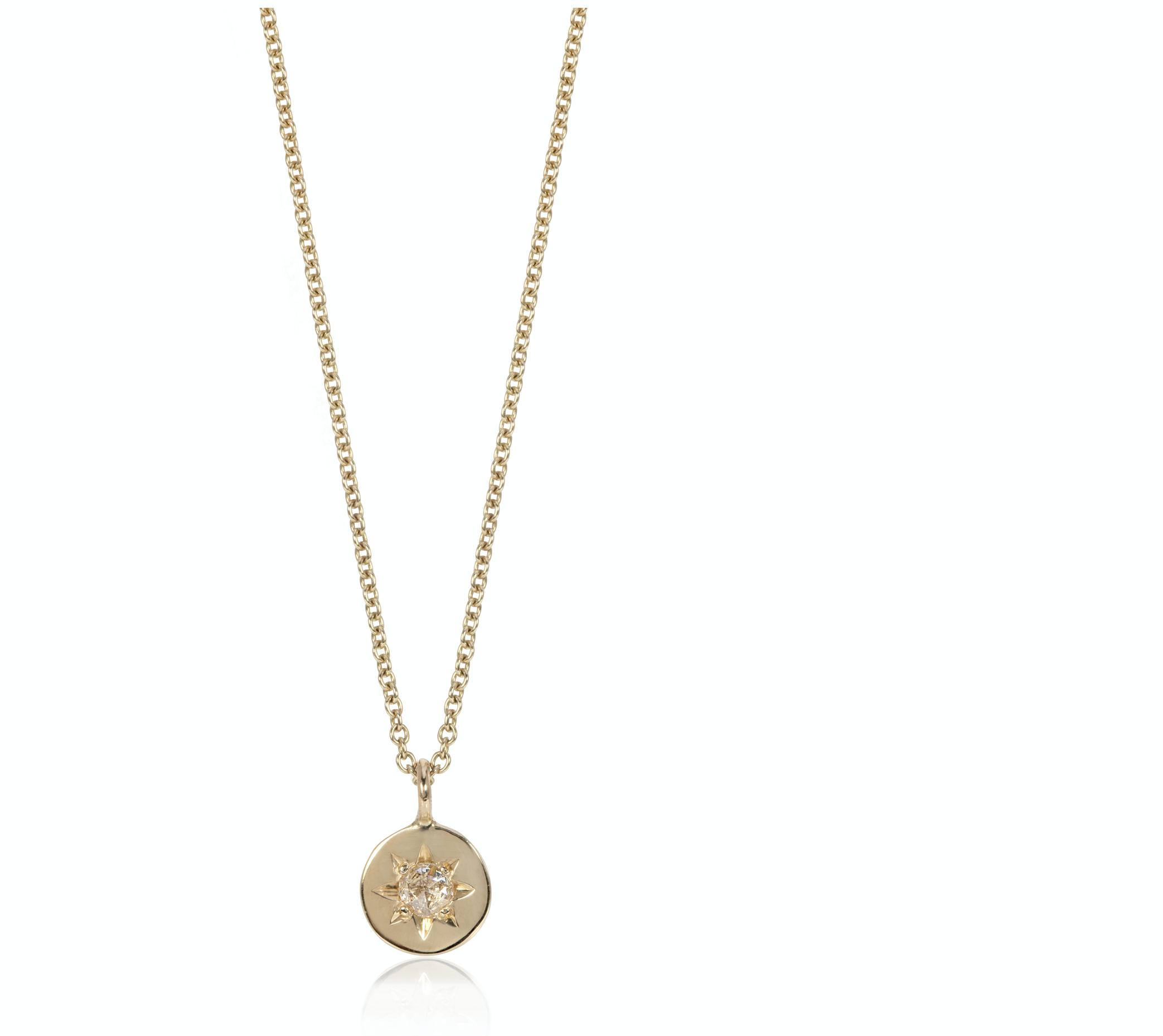 Sunburst rose cut diamond pendant, £600, ellieair.co.uk