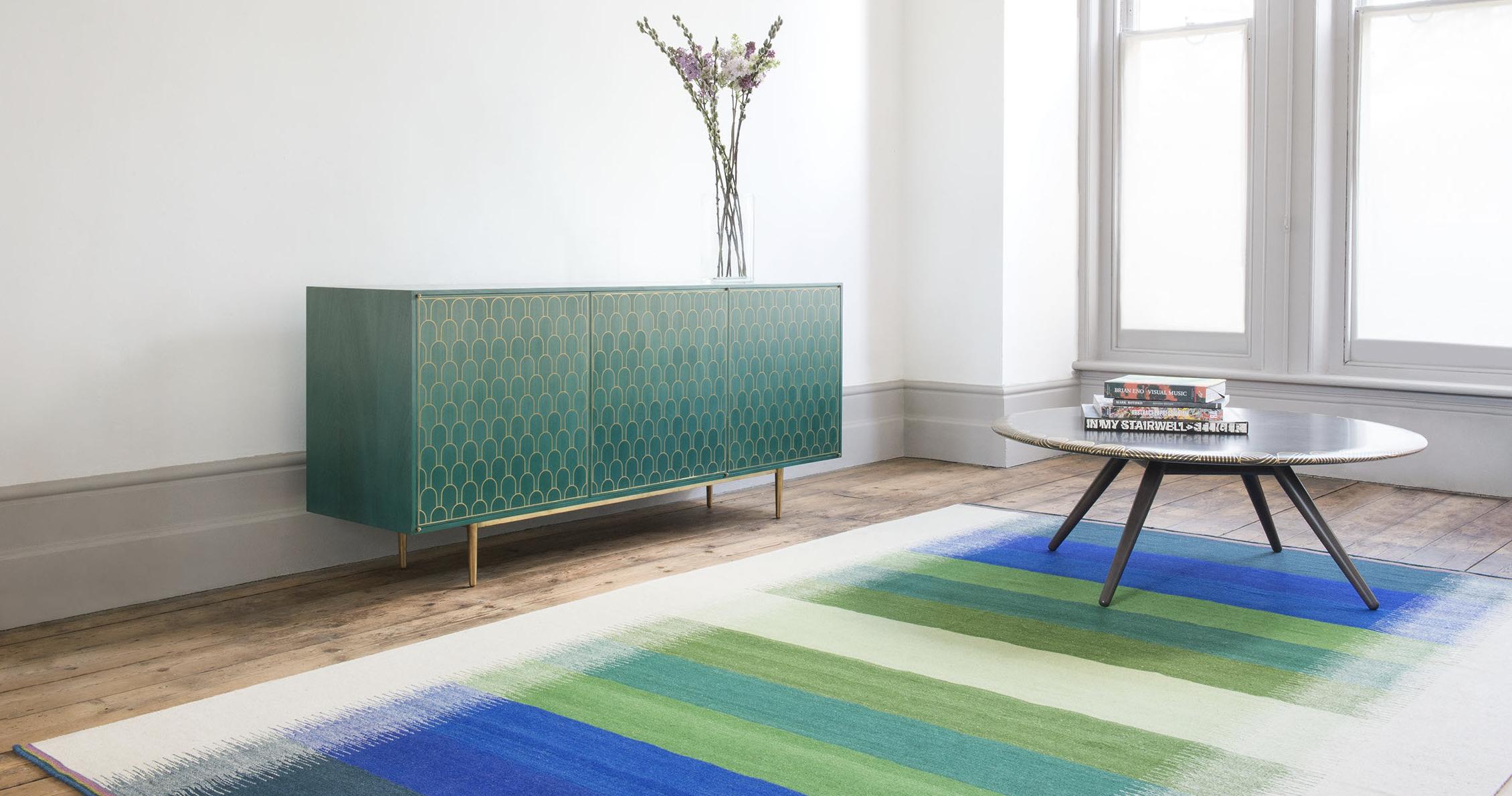 UK designer Ptolemy Mann specialises in flatweave rugs