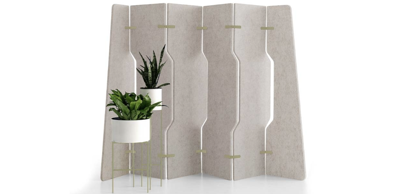 Platoon room divider is made from EchoPanel. www.wovenimage.com