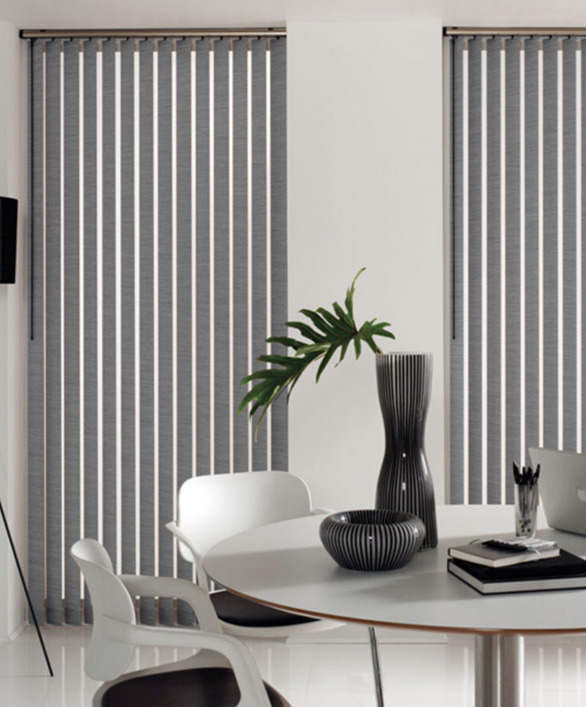 Vertical slat blinds are light and airy