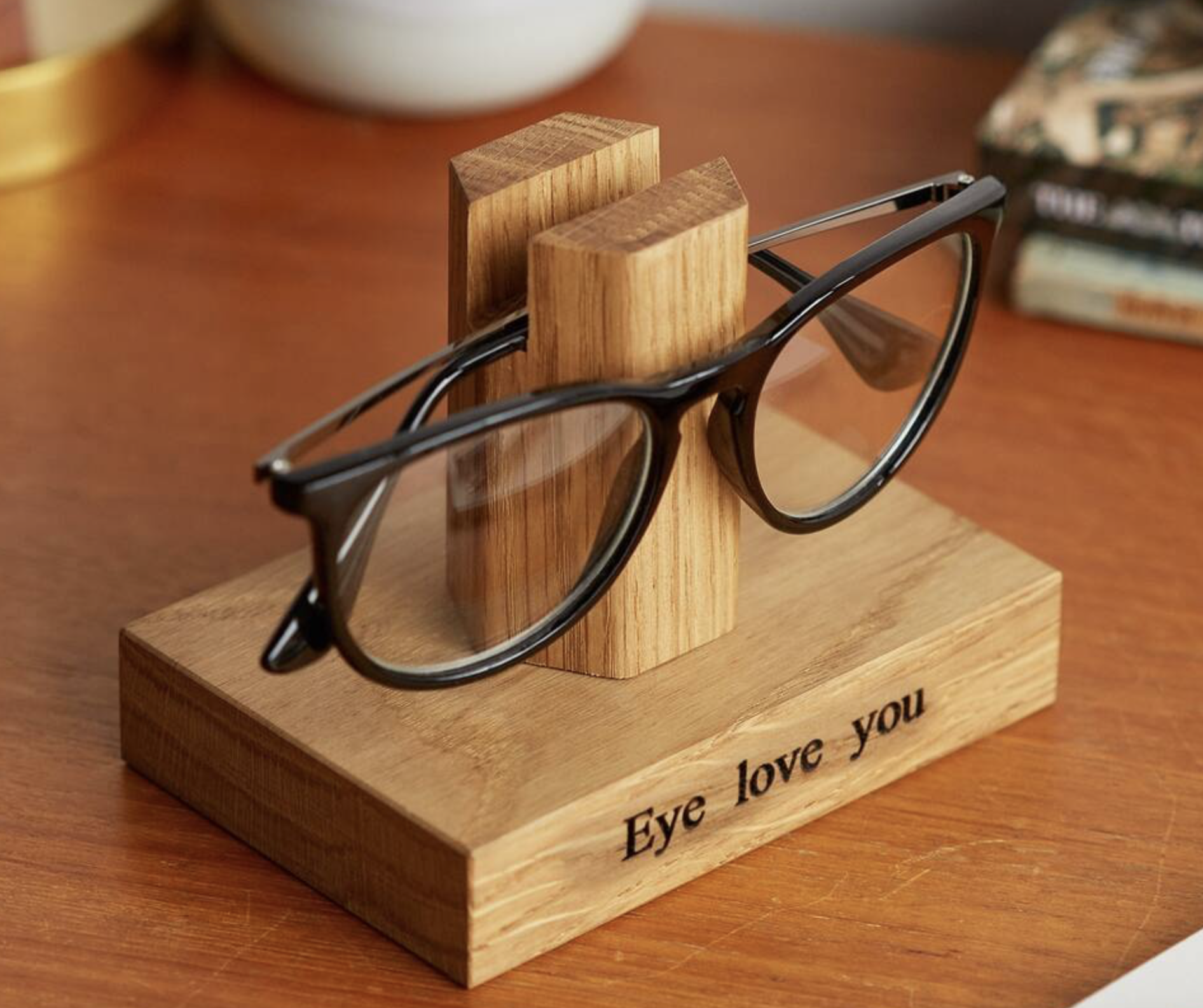 May your beloved never lose their glasses again..solid oak glasses stand