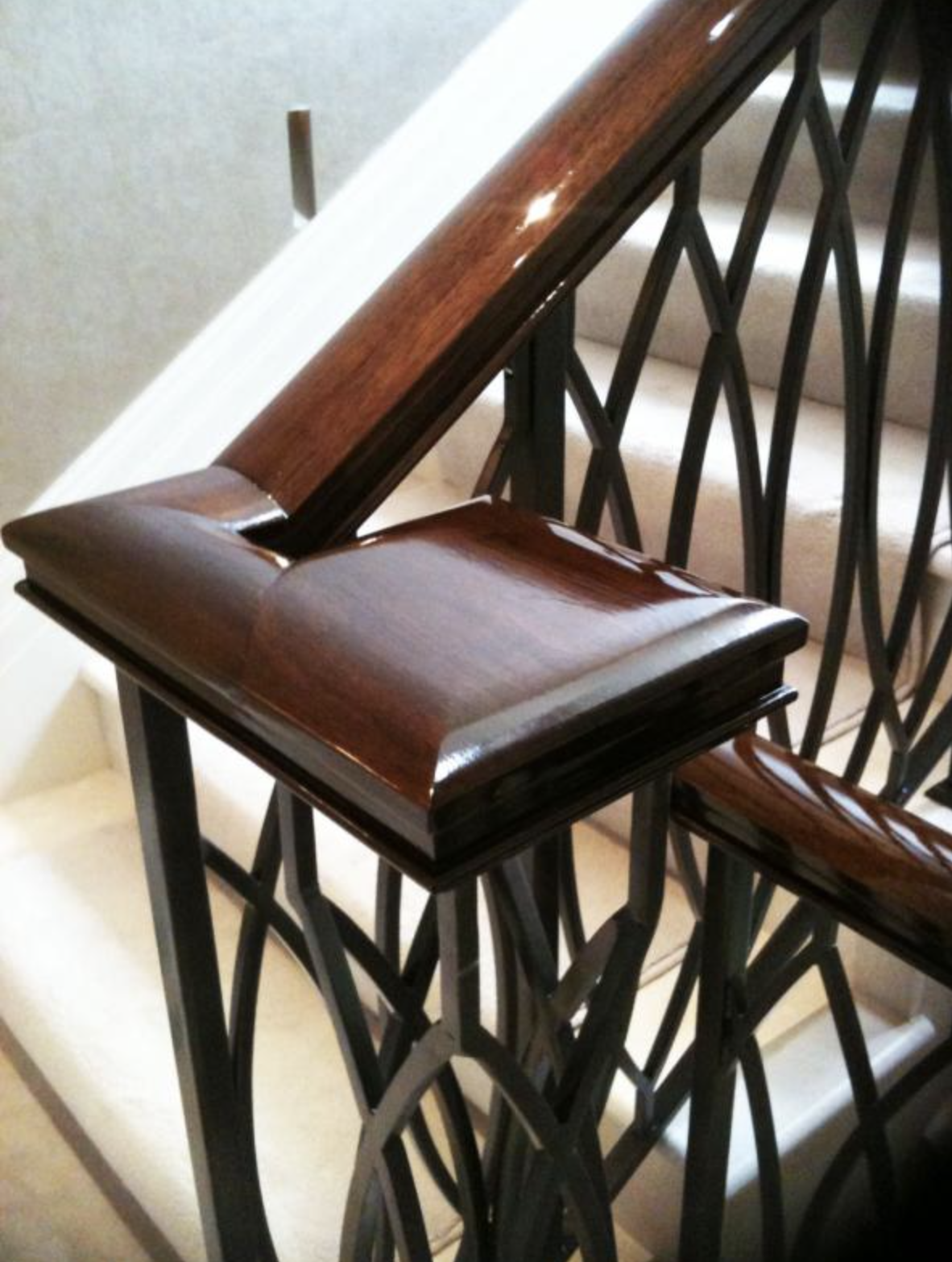 Hand rails in period houses need a French polish periodically