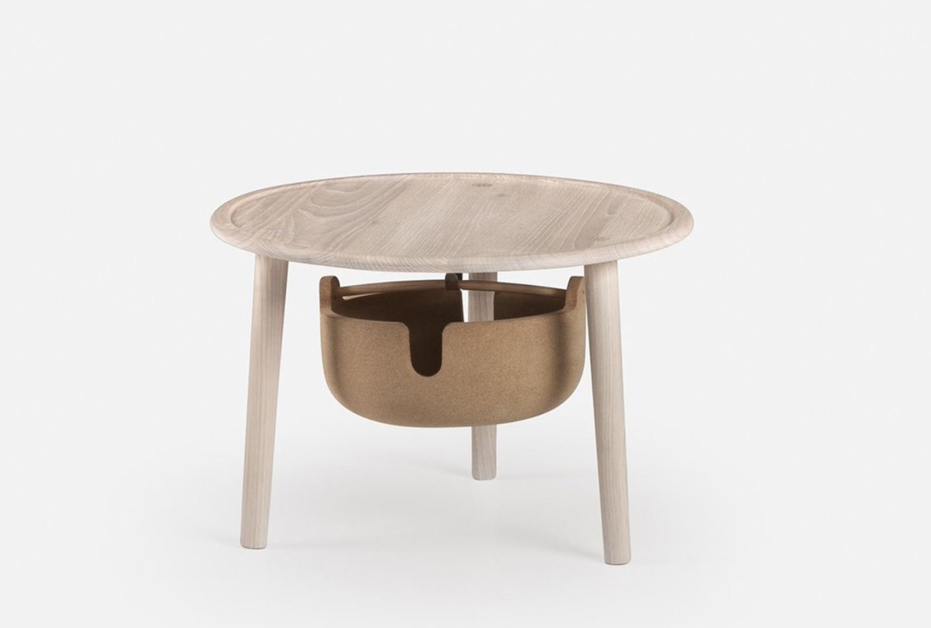 Companions Low bedside table with cork basket by De La Espada
