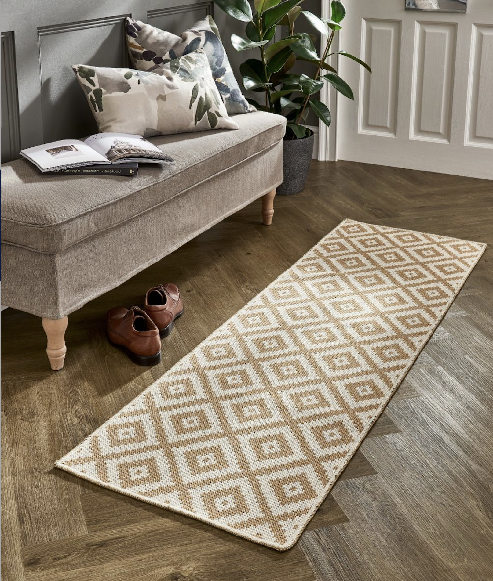 Recycled T shirt rug in gold Tuscan Sun colourway